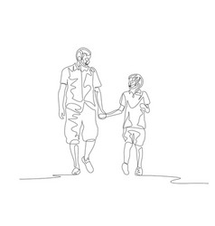 continuous one line father and son walking and vector image