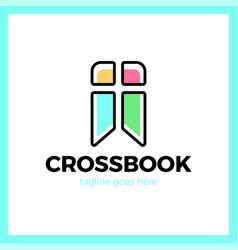 Cross bookmark logotype bible book logotype vector