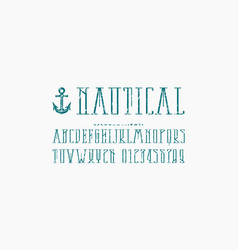 Decorative narrow serif font in nautical style vector