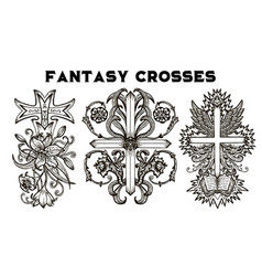 design set with fantasy crosses 1 vector image