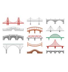 different bridges flat set vector image