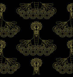 dragon boat golden seamless pattern vector image