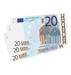 Drawing of a 3x 20 Euro bills vector