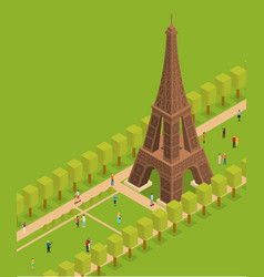 Eiffel tower famous landmark of paris isometric vector