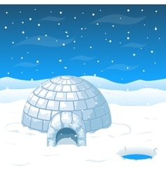 Eskimo cold house from ice blocks in Antarctica vector image