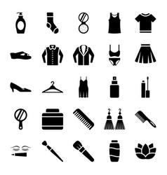 Fashion accessories glyph icons pack vector