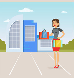 fashionable girl standing in front of shopping vector image