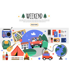 flat weekend elements set vector image