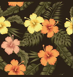 flowers hibiscus tropical green banana leaves vector image