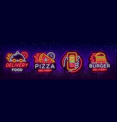 food delivery set neon signs logotype collection vector image