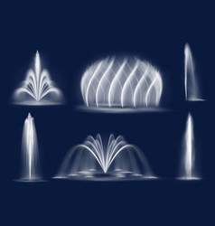 fountain water jets isolated cascades set vector image