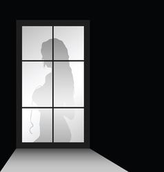 Girl figure with window vector