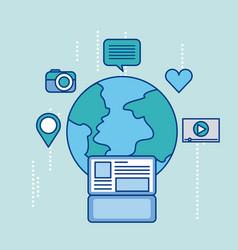 global laptop social media app connection vector image