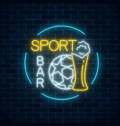 glowing neon sport bar sign on dark brick wall vector image