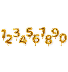 Golden number balloons realistic metal air party vector