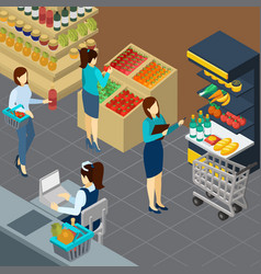 grocery store isometric background vector image
