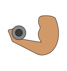 Hand hold dumbbell design vector