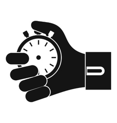 Hand holding stopwatch icon simple style vector image