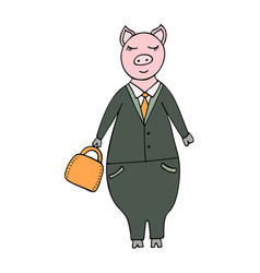handdrawn pig businessman in a suit vector image