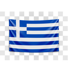 hanging flag greece hellenic republic greek vector image