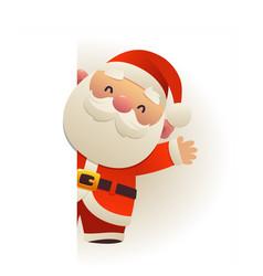 Happy funny santa claus behind blank signboard vector