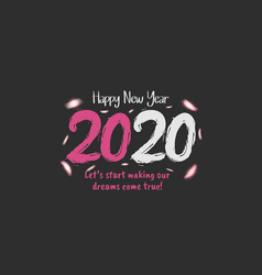 Happy new year 2020 pink and white number vector