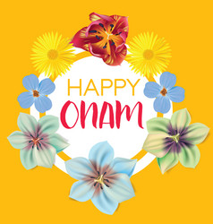Happy onam flower greetings for south indian vector