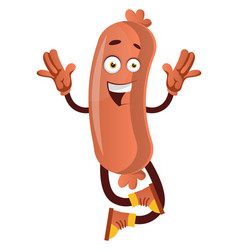 happy sausage on white background vector image