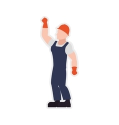 Helmet gloves constructer worker industry icon vector