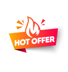 Hot offer label web banner element with flame vector