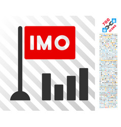 Imo bar chart flat icon with bonus vector