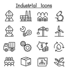 industrial icon set in thin line style vector image