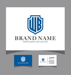 Initials wb shield logo with a business card vector