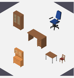 isometric furniture set of cabinet chair office vector image