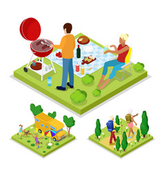 isometric outdoor activity family barbeque grill vector image