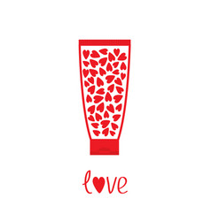 love card tube of cream with hearts inside body vector image
