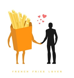 Lover french fries In love with food Man and vector image