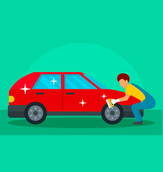 man wash red car concept background flat style vector image