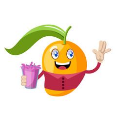 mango holding pink juice on white background vector image