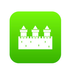 Medieval wall and towers icon digital green vector