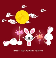 Mid autumn festival rabbit playing with lotus vector