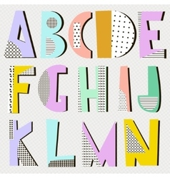 Modern alphabet in geometric memphis style Trendy vector image