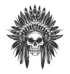 Native american indian skull in war headdress vector