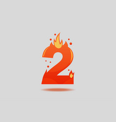 number two with red flames and sparks vector image