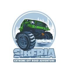 off-road vehicle passing difficult obstacles in vector image