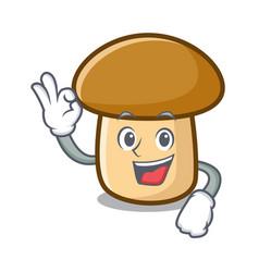 Okay porcini mushroom character cartoon vector