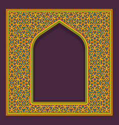 Patterned arched window frame in oriental vector