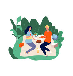 picnic time girl boy drinking wine and eating on vector image