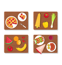 Pie and summer picnic set vector