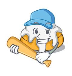 Playing baseball cinnamon roll character cartoon vector